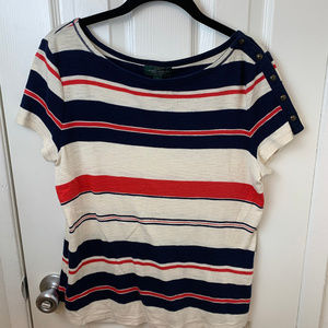 Ralph Lauren Red, White & Blue Striped Tee.